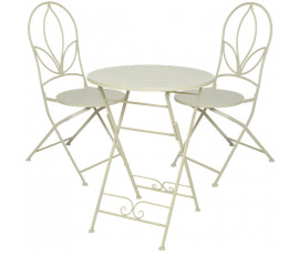 Conjunto Marie Ø 60 mesa + 2 sillas, color taupe
