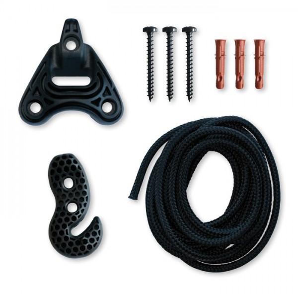 Set de fijación universal con cuerda de 2 m, color negro