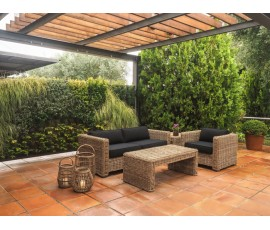 Conjunto Rattan sofá + 2 sillones + mesa/banco