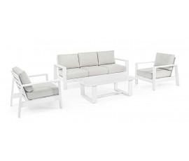 Conjunto Baltic sofá + 2 butacas + mesa, color blanco